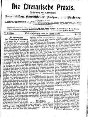 ˜Dieœ literarische Praxis vom 31.05.1902
