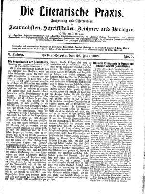 ˜Dieœ literarische Praxis vom 26.07.1902
