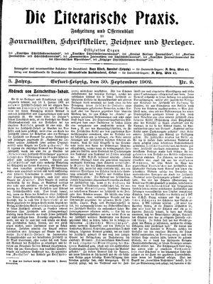 ˜Dieœ literarische Praxis vom 30.09.1902