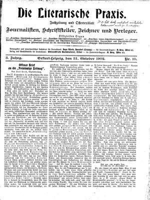 ˜Dieœ literarische Praxis vom 31.10.1902