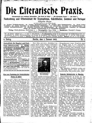 ˜Dieœ literarische Praxis vom 01.01.1905