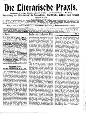 ˜Dieœ literarische Praxis vom 21.01.1905