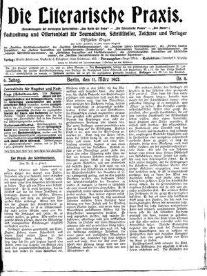 ˜Dieœ literarische Praxis vom 11.03.1905