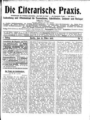 ˜Dieœ literarische Praxis vom 21.03.1905