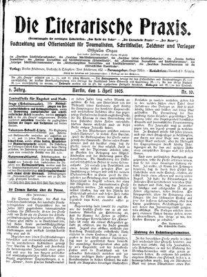˜Dieœ literarische Praxis vom 01.04.1905