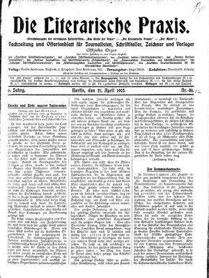 ˜Dieœ literarische Praxis vom 21.04.1905