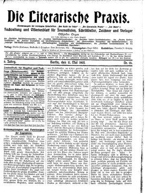 ˜Dieœ literarische Praxis vom 11.05.1905