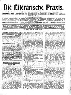 ˜Dieœ literarische Praxis vom 21.05.1905