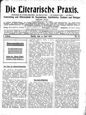 ˜Dieœ literarische Praxis vom 11.06.1905