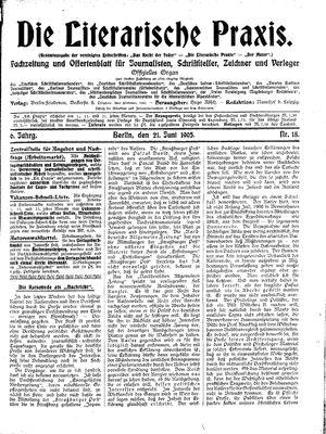 ˜Dieœ literarische Praxis on Jun 21, 1905