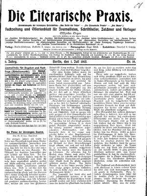˜Dieœ literarische Praxis vom 01.07.1905