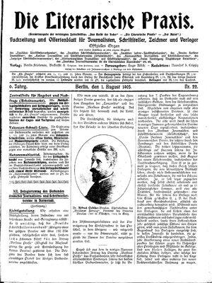 ˜Dieœ literarische Praxis vom 01.08.1905