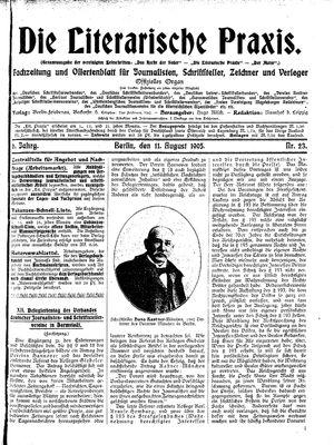 ˜Dieœ literarische Praxis vom 11.08.1905