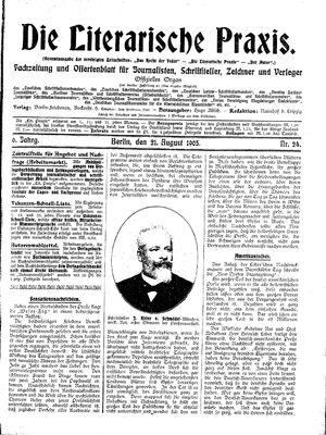 ˜Dieœ literarische Praxis vom 21.08.1905