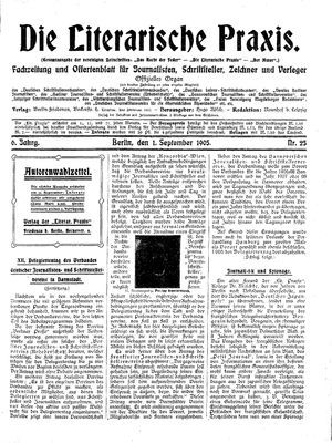 ˜Dieœ literarische Praxis vom 01.09.1905