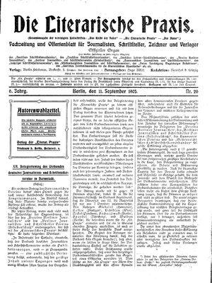 ˜Dieœ literarische Praxis vom 11.09.1905