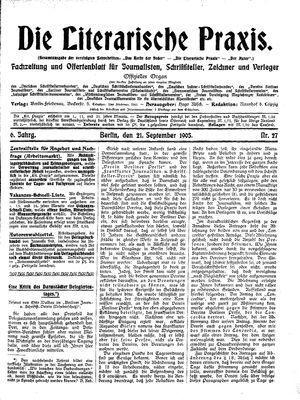 ˜Dieœ literarische Praxis vom 21.09.1905