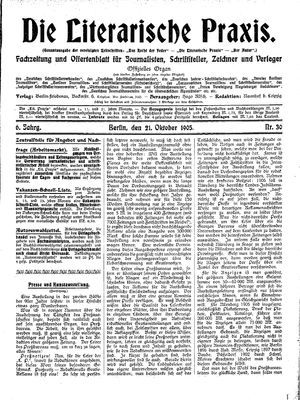 ˜Dieœ literarische Praxis vom 21.10.1905