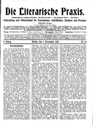 ˜Dieœ literarische Praxis vom 01.11.1905