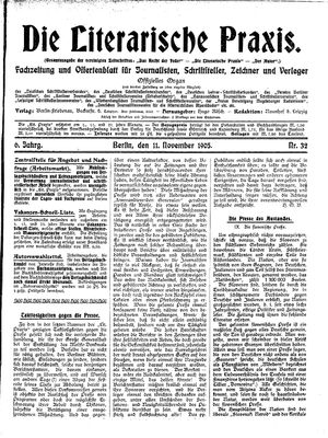 ˜Dieœ literarische Praxis vom 11.11.1905