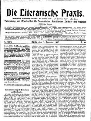 ˜Dieœ literarische Praxis vom 21.11.1905