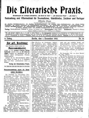 ˜Dieœ literarische Praxis vom 01.12.1905