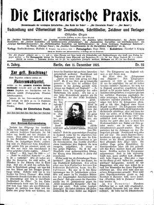 ˜Dieœ literarische Praxis vom 11.12.1905