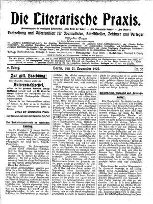 ˜Dieœ literarische Praxis vom 21.12.1905