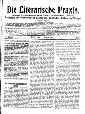˜Dieœ literarische Praxis on Jan 11, 1906