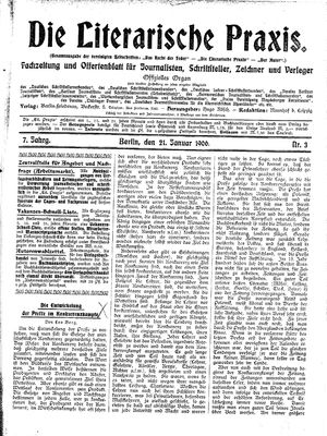 ˜Dieœ literarische Praxis vom 21.01.1906