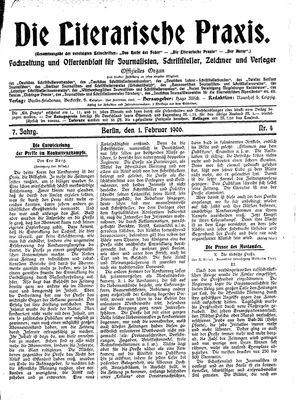 ˜Dieœ literarische Praxis on Feb 1, 1906