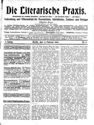 ˜Dieœ literarische Praxis vom 11.02.1906