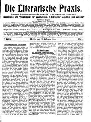 ˜Dieœ literarische Praxis vom 21.02.1906