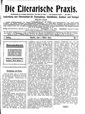 ˜Dieœ literarische Praxis vom 01.03.1906
