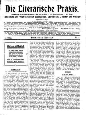 ˜Dieœ literarische Praxis vom 11.03.1906