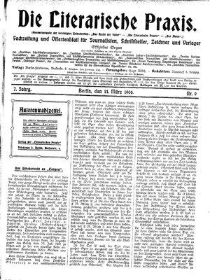˜Dieœ literarische Praxis on Mar 21, 1906