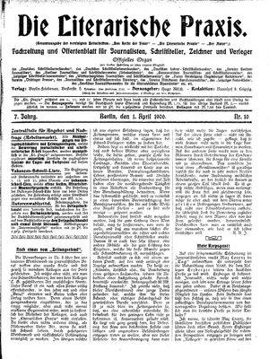 ˜Dieœ literarische Praxis vom 01.04.1906