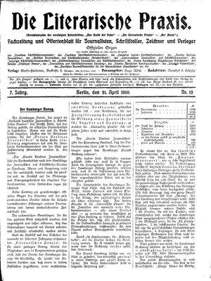 ˜Dieœ literarische Praxis vom 21.04.1906
