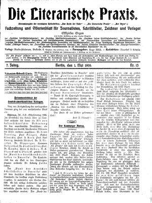 ˜Dieœ literarische Praxis vom 01.05.1906