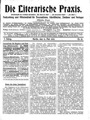 ˜Dieœ literarische Praxis vom 11.05.1906