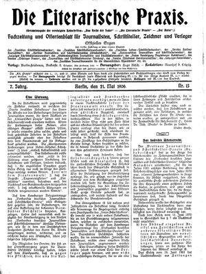 ˜Dieœ literarische Praxis vom 21.05.1906