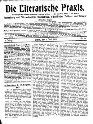˜Dieœ literarische Praxis vom 01.06.1906