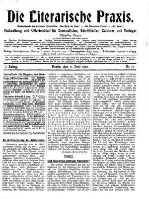˜Dieœ literarische Praxis vom 11.06.1906