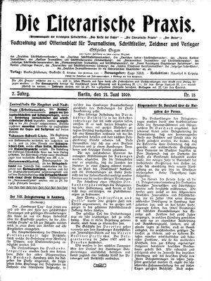 ˜Dieœ literarische Praxis vom 21.06.1906