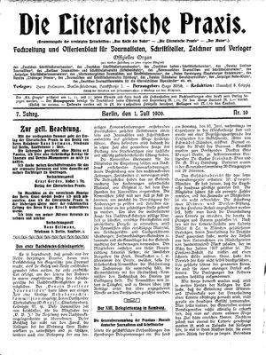˜Dieœ literarische Praxis vom 01.07.1906