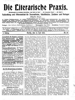 ˜Dieœ literarische Praxis vom 11.07.1906