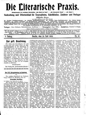 ˜Dieœ literarische Praxis vom 21.07.1906