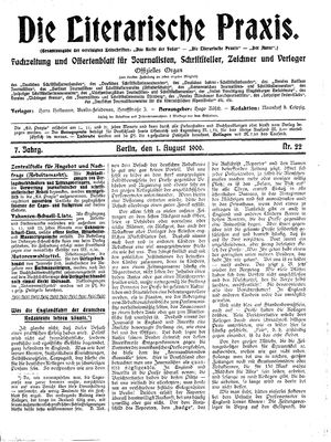 ˜Dieœ literarische Praxis vom 01.08.1906