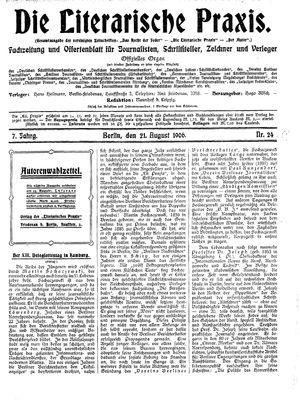 ˜Dieœ literarische Praxis vom 21.08.1906