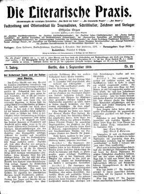 ˜Dieœ literarische Praxis vom 01.09.1906